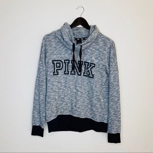 VS PINK Marled Grey Cowl Neck Pullover Sweater
